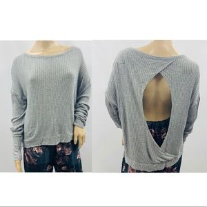 Chaser Light Gray Waffle Knit Open Back Tee Shirt